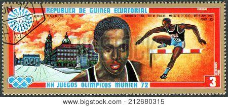 EQUATORIAL GUINEA - CIRCA 1972: A stamp printed in Equatorial Guinea shows Lee Quincy Calhoun - Medalists of the Summer Olympics 1972 Munich circa 1972