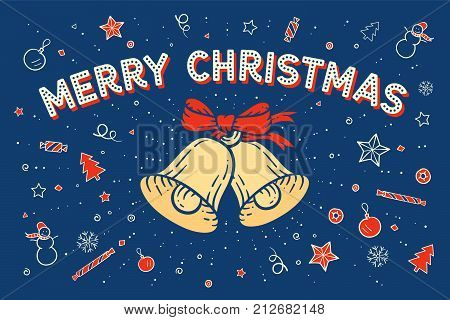 Merry Christmas. Greeting card with bell and text Merry Christmas on happy colorful pattern and background. Christmas theme for banner, poster, post card, web and graphic design. Vector Illustration