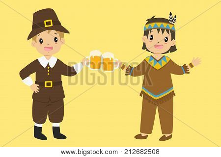 Happy pilgrim and native boy are cheering with pumpkin ale. Thanksgiving character illustration vector