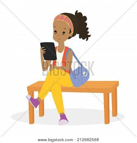 cartoon vector of an African American woman reading an e-reader while sitting on a bench