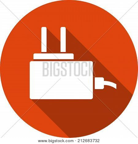 micro usb mobile phone charge round icon with a long shadow