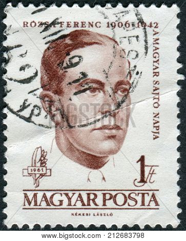 HUNGARY - CIRCA 1961: Postage stamp printed in Hungary shows a portrait of Ferenc Rozsa circa 1961