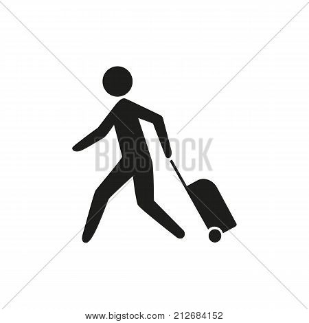 Simple icon of passenger running with luggage. Check-in counter, railway station, airport. Airport guide concept. Can be used for topics like travel, transportation, tourism
