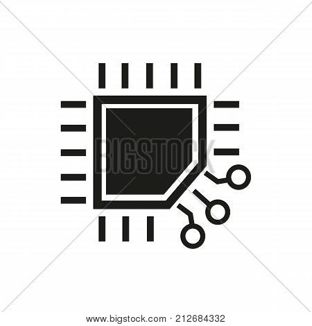 Simple icon of processor. Microchip, circuit board, microcircuit. Robots concept. Can be used for topics like technology, computers, innovation