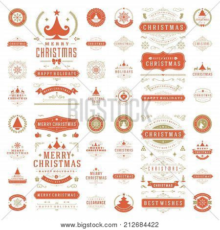 Christmas labels and badges for greeting cards and posters vector design elements set. Merry Christmas and Holidays wishes retro typography decoration objects and symbols, vintage ornaments.