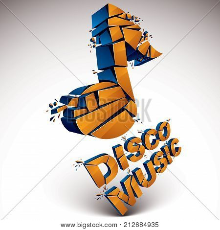Orange 3d vector musical note created from refractions isolated on white. Three-dimensional transform music theme design element. Disco music theme