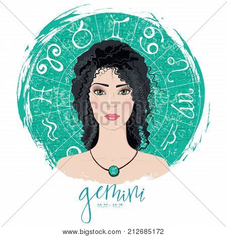 Zodiac signs Gemini in image of beauty girl. Vector illustration for column Horoscope includes modern hand drawn lettering and dates
