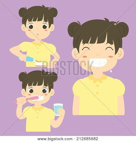 a girl putting a toothpaste on a toothbrush, a girl brushing his teeth and a girl smiling happily showing his clean teeth. cartoon vector collection