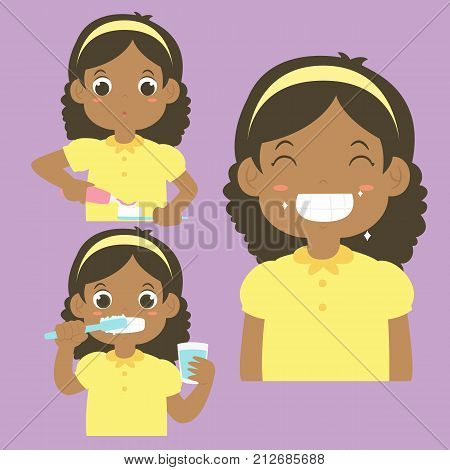 happy African American girl putting a toothpaste on a toothbrush, a girl brushing his teeth and a girl smiling happily showing his clean teeth. cartoon vector collection