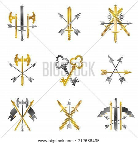 Vintage Weapon Emblems set. Heraldic Coat of Arms vintage vector emblems collection.