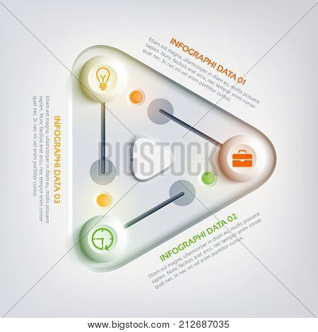 Abstract web business infographics with triangle panel colorful round sliders three steps and icons vector illustration