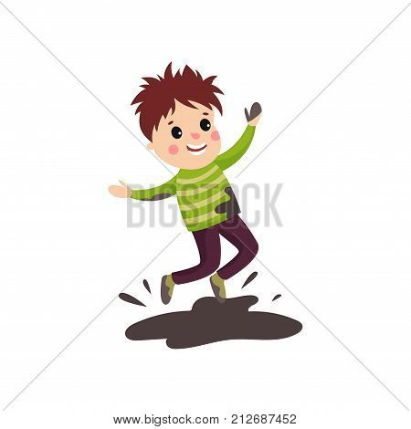 Overactive little kid in soiled sweater and pants jumping with hands up in mud puddle. Cartoon character of boy with bad behavior. Trouble child. Flat vector illustration isolated on white background.
