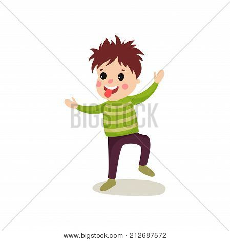 Playful little kid jumping with hands up, making face and showing his tongue. Cartoon character of bad boy dressed in green sweater and violet pants. Flat style vector illustration isolated on white.