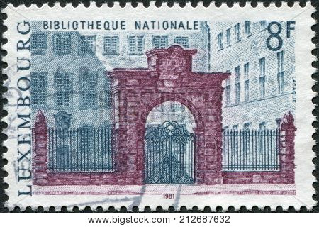 LUXEMBOURG - CIRCA 1981: A stamp printed in Luxembourg represented National Library circa 1981