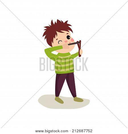 Little hellion boy sighting to shoot from slingshot. Child bad behavior concept. Teen bully demonstrating mischievous uncontrollable behavior. Flat design vector illustration isolated on white.