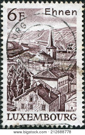 LUXEMBOURG - CIRCA 1977: A stamp printed in Luxembourg shows view of Ehnen circa 1977