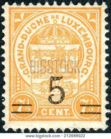 LUXEMBOURG - CIRCA 1919: Postage stamps printed in Luxembourg shows the State Emblem (overprint 1924) circa 1919