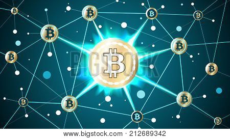 Golden bitcoin crypto currency and blockchain blue background well organized layers