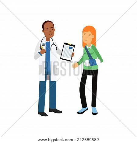 Cartoon character of black male doctor in white medical robe and stethoscope around his neck. Red-haired woman patient with broken arm in bandages. Medical service concept. Flat vector illustration.