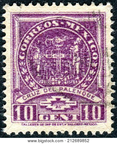 MEXICO - CIRCA 1935: Postage stamp printed in Mexico shows the Cross of Palenque Stucco from Temple of the Foliated Cross the Maya era circa 1935