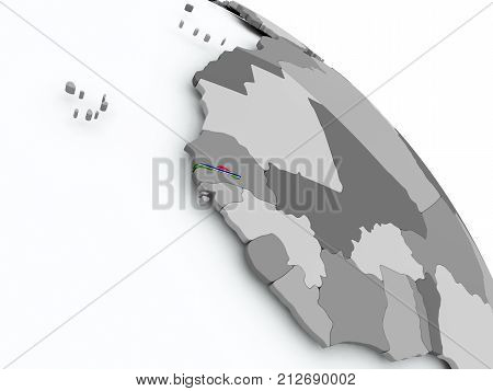 Map Of Gambia With Flag On Globe