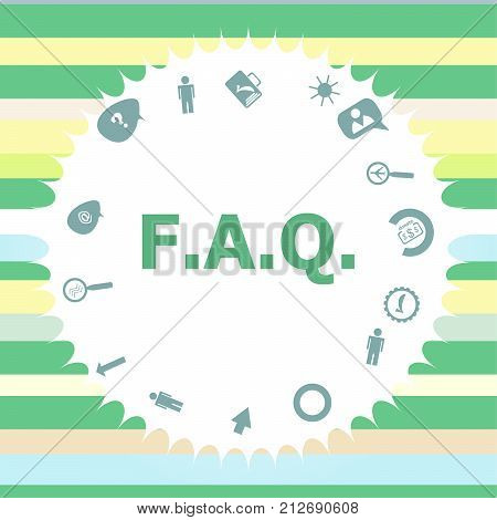 Text Faq. Education Concept. Frequently Asked Questions . Infographics Icon Set. Icons Of Maths, Gra