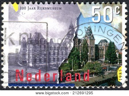 NETHERLANDS - CIRCA 1985: Postage stamp printed in the Netherlands dedicated to the centennial of the National Museum of Fine Arts Amsterdam circa 1985