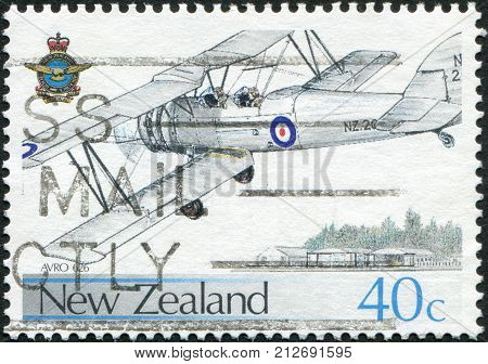 NEW ZEALAND - CIRCA 1987: Postage stamps printed in New Zealand dedicated to the 50th anniversary of the Royal NZ Air Force shows single-engined British biplane Avro 626 circa 1987