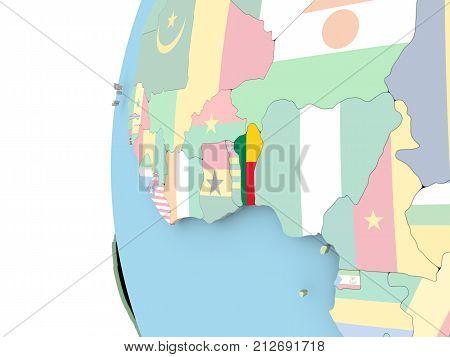 Flag Of Benin On Political Globe