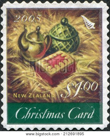 NEW ZEALAND - CIRCA 2005: A stamp printed in New Zealand is dedicated to Christmas the gifts of the Magi is depicted - Gold Frankincense Myrrh circa 2005