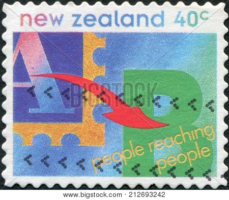 NEW ZEALAND - CIRCA 1995: A stamp printed in New Zealand shows an arrow from the letter
