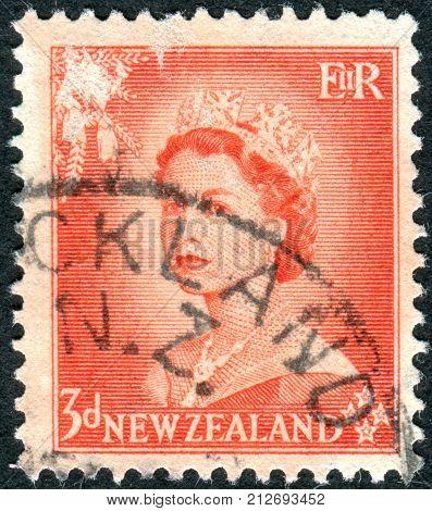 NEW ZEALAND - CIRCA 1956: Postage stamp printed in New Zealand, shows Queen Elizabeth II, circa 1956