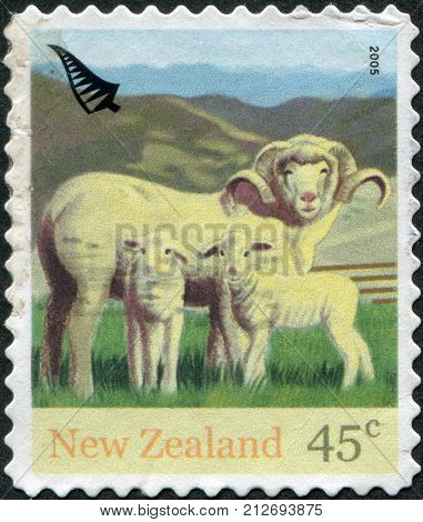 NEW ZEALAND - CIRCA 2005: Postage stamps printed in New Zealand shows the Ewe (with horns) and lambs circa 2005