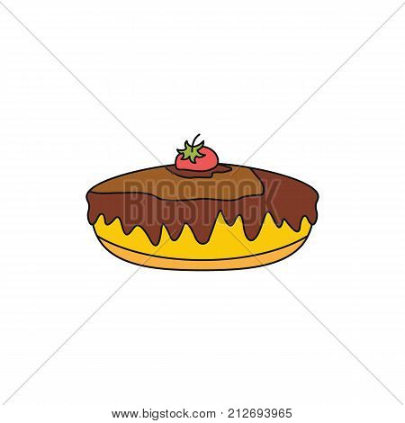 Pie colorful bakery product cartoon icon. Vector illustration of pie bakery product isolated on white background