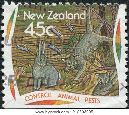 NEW ZEALAND - CIRCA 1995: A stamp printed in New Zealand dedicated to the Control animal pests circa 1995