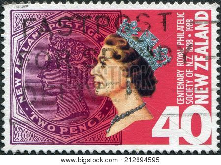 NEW ZEALAND - CIRCA 1988: Postage stamps printed in New Zealand is dedicated to the 100th anniversary of the Royal Philatelic Society of NZ shows Queen Elizabeth II circa 1988