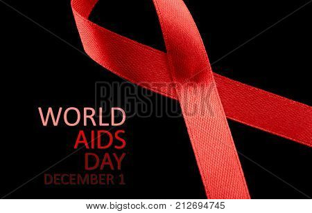 Aids Awareness Sign Red Ribbon. World Aids Day Concept, 1 December. Red Ribbon As Symbol Of Aids Awa
