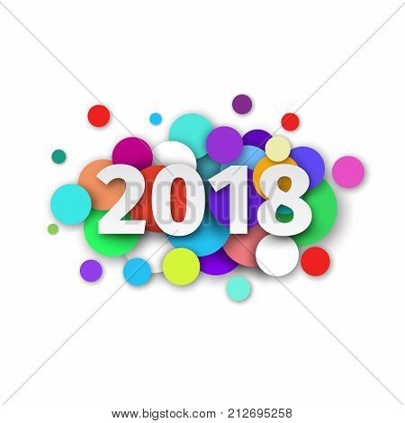 Happy New Year 2018 background decoration. Template design for greeting card with confetti and date  2018 year. Festive flyer or brochure. Creative vector illustration