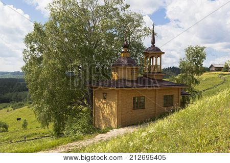 Chapel in Russian village. Chapel of the Assumption of the Mother of God in the village Markovskaya, Verhovazhskogo district, Vologda region, Russia