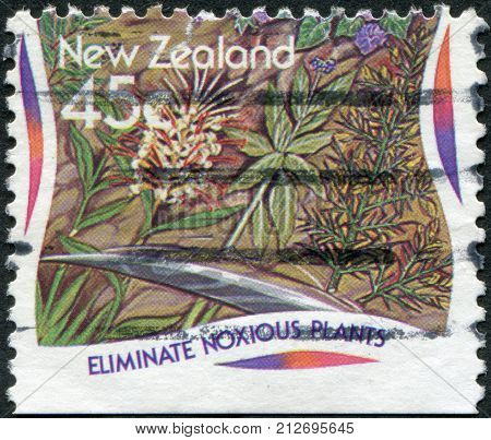 NEW ZEALAND - CIRCA 1995: A stamp printed in New Zealand is dedicated to Eliminate noxious plants circa 1995
