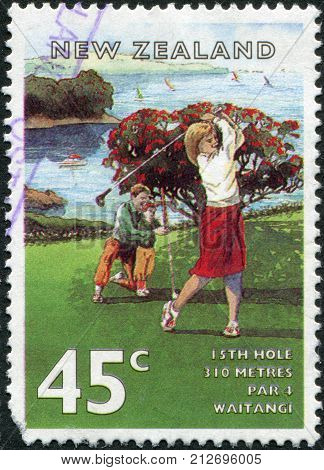 NEW ZEALAND - CIRCA 1995: A stamp printed in New Zealand shows the game of golf the field of Waitangi (15 holes) circa 1995