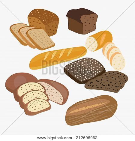 vector set of cartoon food bread rye bread ciabatta wheat bread whole grain bread illustration.