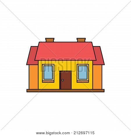 House Colorful Cartoon Residential icon. Vector illustration. Isolated object. Element for house design.