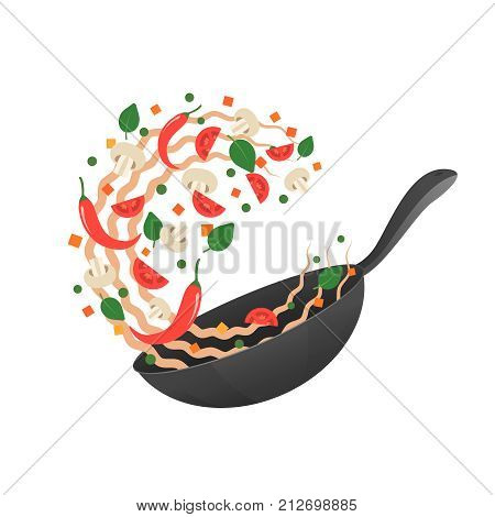 Stir fry. Cooking process vector illustration. Flipping Asian noodles in a pan. Cartoon style. Flat
