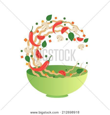 Stir fry vector illustration. Flipping Asian noodles with vegetables in a green bowl. Cartoon flat style