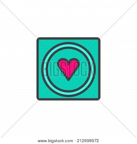 Condom with heart filled outline icon, line vector sign, linear colorful pictogram isolated on white. Safe sex symbol, logo illustration. Pixel perfect vector graphics
