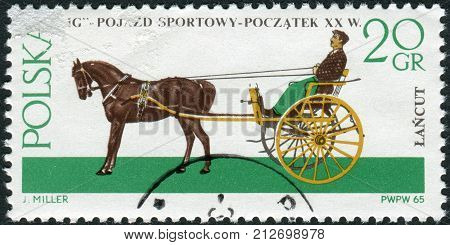 POLAND - CIRCA 1965: Postage stamp printed in Poland shows Gig (carriage) a light two-wheeled sprung cart pulled by one horse circa 1965