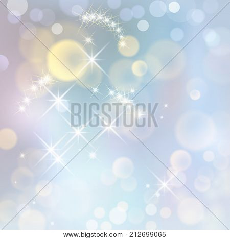Festive vector abstract background with bokeh defocused lights