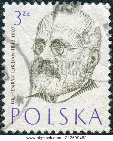 POLAND - CIRCA 1957: Postage stamp printed in Poland shows a portrait of a Polish philanthropist physician and pioneer of physical education in Poland Henryk Jordan circa 1957