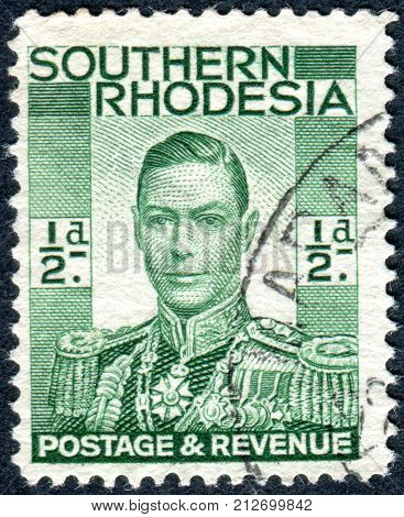 SOUTHERN RHODESIA - CIRCA 1937: A stamp printed in Southern Rhodesia shows the portrait King George VI circa 1937